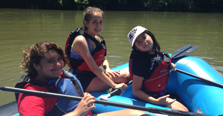 Girls Kayaking