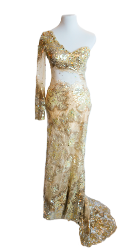 one-shoulder-gold-gown